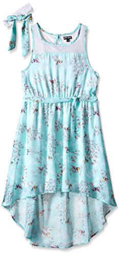 Big Girls Cherry Blossom Chiffon Dress with Headwrap Surf Medium/10/12