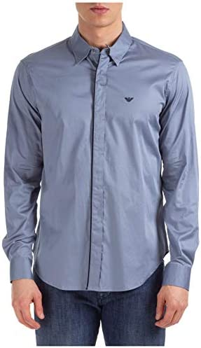 Armani Men`s Slim Fit Contrast Trim Shirt Gray