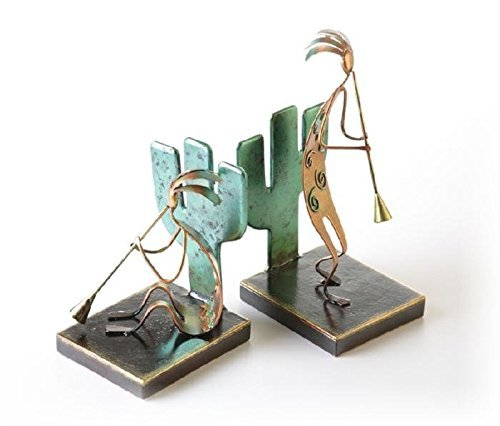 PS 8.7 Inch Colorfully Melded Metallic Kokopelli Matching - Bookends Indian