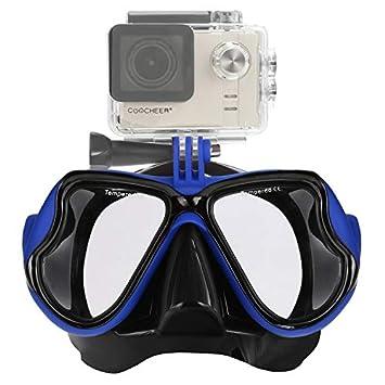 IXROAD Máscara Gafas de Buceo Snorkel Natación con Soporte para Cámara Deportiva (Azul)
