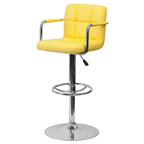 Stool Height Express Swivel Adjustable (KLS14 Modern Barstools Hydraulic Adjustable Height 360-Degree Swivel Seat Sturdy Steel Frame Padded Cushion Seat Dining Chair Bar Pub Stool Home Office Furniture - (1) Yellow #1978)