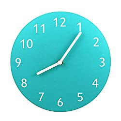 AVKRR KLOX Modern Wall Clock Non Ticking Simple No Glass Cover Wooden Board-Tone Battery Operated Wall Clock 10 Inch,Tiffany