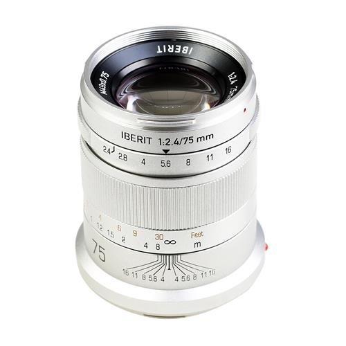 KIPON 単焦点レンズ IBERIT (イベリット) 75mm f/2.4 ライカSLマウント Frosted Silver(つや消し シルバー)   B00M70NUYO
