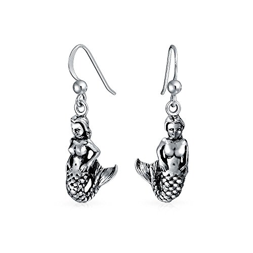 Nautical Sailors Beach Ocean Siren Mermaid Dangle Earrings For Women Black Oxidized 925 Sterling Silver ()
