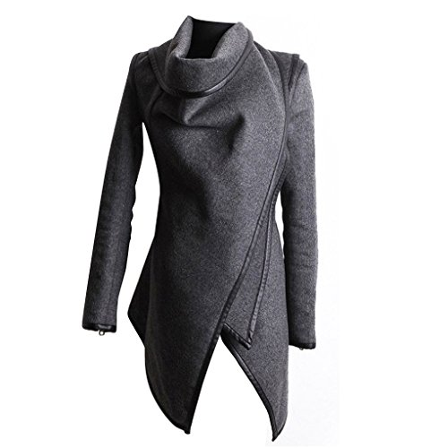 Minzhi Long Outerwear Coat Female Cashmere Trench Wool Simple Thick Warm Autumn Winter Casual Sweaters Overcoat Tops Gray