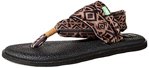 Sanuk Women's Yoga Sling 2 Prints Flat Sandal,skyland brown/black,6 M -
