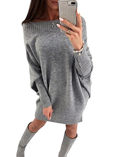 Price comparison product image Soficy Women's Casual Loose Pullover Knit Sweater Dress Short Knitted Dress With Long Sleeves Grey S