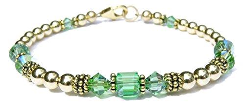 (DAMALI 14k Gold Fill & Antiqued Vermeil Beaded Crystal Bracelet, Peridot Swarovski Crystal August Birthstone Bracelet)