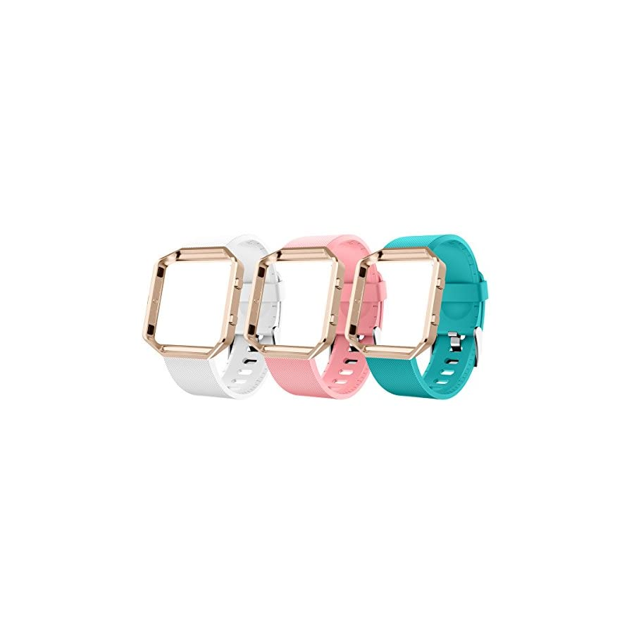 AIUNIT Compatible Bands for Fitbit Blaze Large, Fitbit Blaze Watch Replacement Band Accessories Wristband Watch Sport Strap Fitbit Blaze Smart Fitness Tracker Women Men Girls Boys(White Pink Teal)
