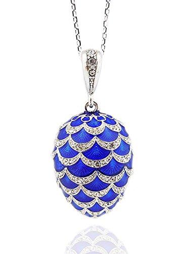 - Blue Russian Egg Pendant 925 Sterling Silver Enameled 1 1/2 Inch