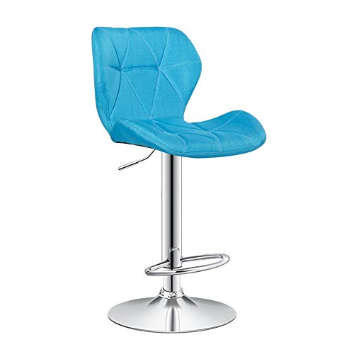 Fly Bar Stool Back Modern Kitchen Dining Stool Artificial Leather Stainless Steel Leisure Stool New Chair (Color : Blue ()