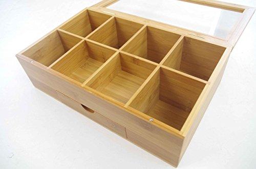 Tea Organizer Bamboo Tea Box with Small Drawer 100% Natural Bamboo Tea Chest - Great Gift Idea - By Bambusi by Bambüsi (Image #8)