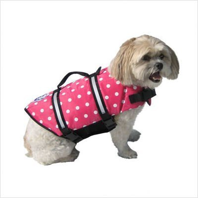 Dog Supplies Designer Doggy Life Jacket Xxsmall Pink Polka Dot Up To 6 Lbs by Paws Aboard