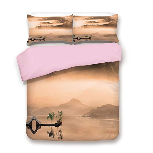 Euro Hill Quilt - Pink Duvet Cover Set,Queen Size,Chinese Lake Landscape before Majestic Foggy Mountains in Mist Clouds Dramatic Hill View Decorative,Decorative 3 Piece Bedding Set with 2 Pillow Sham,Best Gift For Girl
