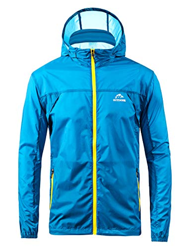(Men's Cycling Jersey Bicycle Ultra Light Windbreaker Windproof Lightweight Jacket Hiking (S, Sky Blue))