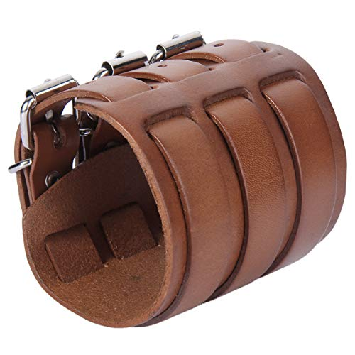 EVER FAITH 3 Layer Wide Belt Genuine Leather Men Daily Wristband Brown Bracelet Unisex ()