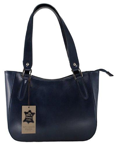 de 34x23x10cm Fabriqué en cuir élégant main véritable Sac à femmes Italie Bleu CTM 100 vwnAYxt1q6