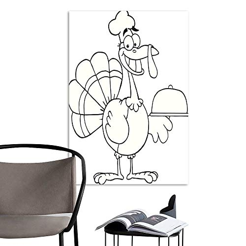 UHOO Arts PaintingBlack and White Happy Turkey Chef Serving A Platter.jpg Artwork for Gift for Home Decor 20