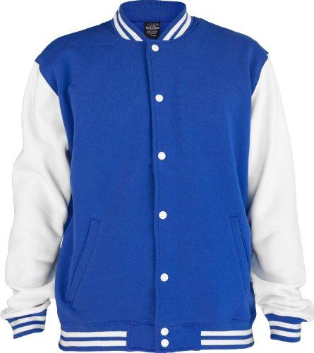 "Urban : ""2-tone College Sweatjacket"" Size: XS, Color: royal-white …TB207"