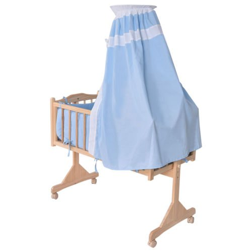 Wood Baby Crib Rocking Cradle Newborn Bassinet Bed Sleeper Portable Nursery Blue by Nikkycozie (Image #3)