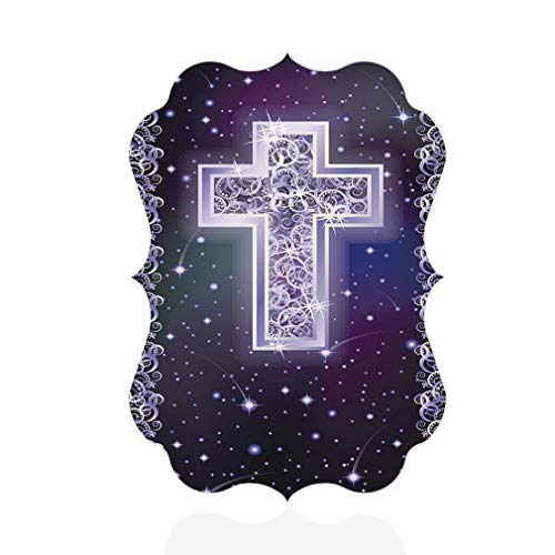 (Aluminum Metal Wall Decor Silver Christian Cross Holidays Vertical Photo Print Wall Art - Benelux Shape, 5