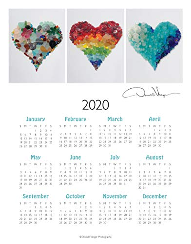 2020 Three Sea Glass Hearts, Elegant One Page, Fine Art Wall or Desk Calendar. 11x14 Poster Print. Best Quality Birthday, Christmas, Mothers Day & Valentines Gifts for Women, Men & Kids. Unique Idea f