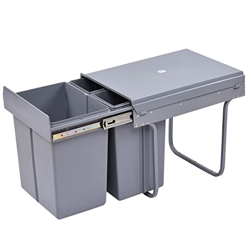 Costzon Pull Out Waste Bin 3 Component Trash Container with Slides, 42 Qt. - Pull Out Recycling