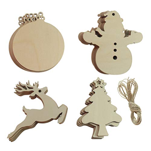 CREATRILL 24 PCS Wooden Christmas Ornaments Xmas Tree Hanging Embellishments for Kid DIY Crafts, Home & Party Decoration, Round/Christmas Tree/Reindeer Deer/Snowman, Wood Slice with Holes
