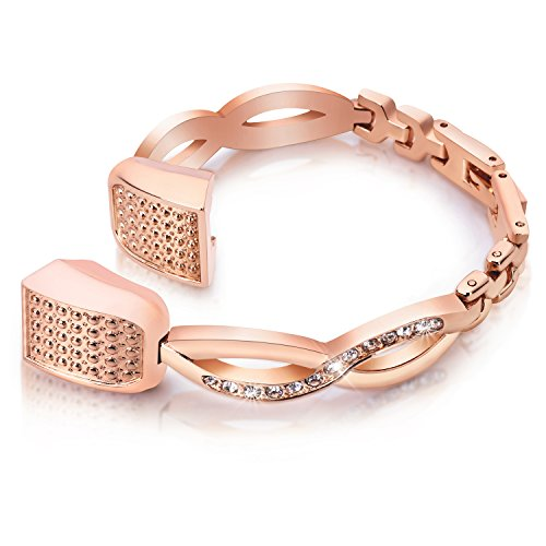 Famobest For Fitbit Alta HR Bands Fitbit Alta Bands For Women Men, Stainless Steel Alta Fit bit Bands Alta Fitbit Bands Fitbit Alta Replacement Bands Wristbands Small Large Bangle 1 Rose Gold