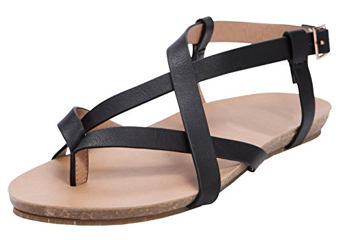 Cambridge Select Women's Crisscross Strappy Thong Buckled Slingback Flat Sandal (9 B(M) US, Black (Criss Cross Slingback Sandals)