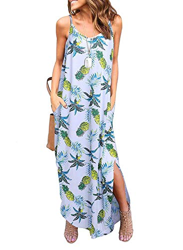Kyerivs Women's Summer Dress Casual Loose Beach Cover Up Long Plain Print Cami Maxi Dresses with Pocket Pineapple XXL (22W) ()