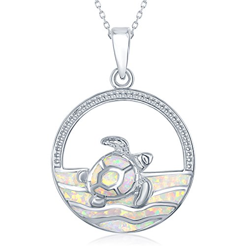 (Sterling Silver Created Opal Swimming Turtle in the Ocean Waves Circle Pendant with 18