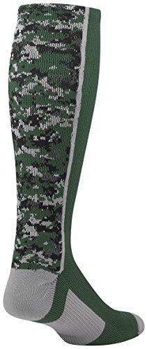TCK Sports Digital Camo Over The Calf Socks, Dark Green, Small