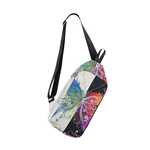 Inkjet Butterfly Pattern Sling Bag Water Resistant Outdoor Shoulder Backpack Chest Pack Crossbody Bags for Women and Men Causal Daypacks Hiking Cycling and Travel