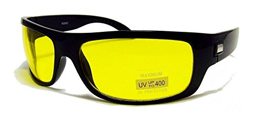 Black HD High Definition Vision Driving Sunglasses WrapAround Yellow Night Glasses NE