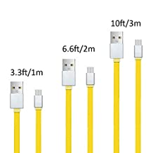 Android Charge USB Cable, Hankuke [Soft Flat TPE Material] USB to Micro USB High Speed Cables Bundles of 3ft 6ft and 10 ft Sync&Charge Cord Wire for Samsung, HTC, Motorola, Nokia, Android - yellow