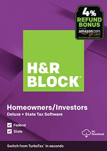 [OLD VERSION] H&R Block Tax Software Deluxe + State 2019 [Amazon Exclusive] [PC Download]