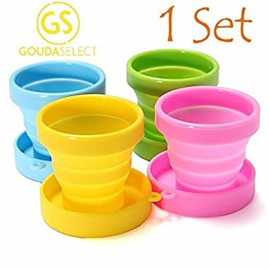Gouda Select Collapsible Silicone Cup for Travel Camping School Outdoor (1 Set contains 4 cups - 1 Green, 1 Yellow, 1 Blue, 1 Pink)