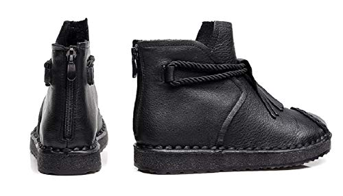 Gaslinyuan Gaslinyuan Gaslinyuan Quaste Frauen Stiefel Zipper Soft Vintage Leathe Schuhe (Farbe   Schwarz, Größe   EU 39) 2c0dbe