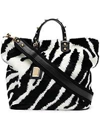 Women's BB6201AV01989697 White/Black Leather Handbag