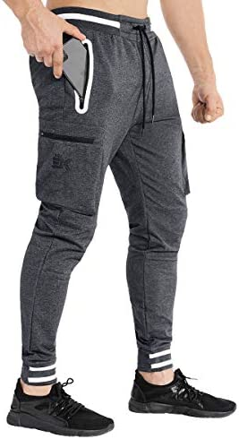 BROKIG Mens Tapered Workout Sweatpants-Casual Gym Jogger Pants Cargo Zip Pockets