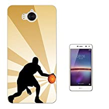 002737 - Basketball Player Shadow Design Huawei Y6 (2017) Fashion Trend CASE Gel Rubber Silicone All Edges Protection Case Cover