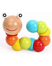 لعبة اطفال على شكل قطار أحجية خشبية متعددة الألوان بتصميم حشرة ملتوية