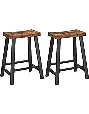 VASAGLE barkruk, kruk met gebogen zitting, set van 2, barstoelen, voor keuken, eetkamer, studeerkamer, industrieel ontwerp, vintage bruin-zwart LBC074B01