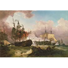 Canvas Prints Of Oil Painting ' Phillip James De Loutherbourg - The Battle Of Camperdown,1799' 30 x 43 inch / 76 x 110 cm , Polyster Canvas Is For Gifts And Garage, Hallway And Powder Room Decoration