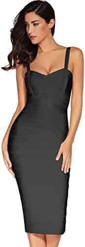 7f7a77815f3 Meilun Women s Strap Midi Bandage Dress Length Party Solid Prom Bodycon  Dress