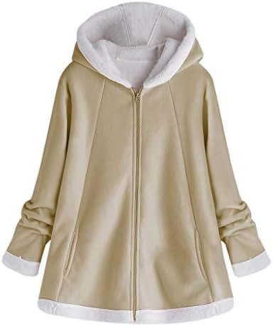 Overcoat for Women Plus Size Fashion Winter Pocket Zipper Long Sleeve Plush Hoodie Pullover Sweatshirt Coat