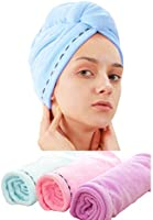 Laicky 3 Pack Microfiber Hair Drying Towel Wrap Super Absorbent Twist Turban Fast Dry Hair Caps with Buttons Bath Loop...