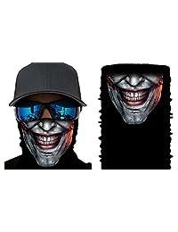 Happy Rocker Bandana Tube Face Mask Shield Silver Joker Headband