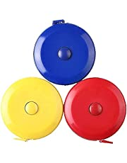 60 Inch/150 cm Soft Tape Measure for Sewing Tailor Cloth Ruler, Body Tailor Sewing Craft Cloth Pocket Pocket Measuring Tape, 3-Pack Red Blue Yellow